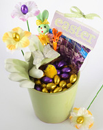 Tara Dennis easter pot  - A gardener would really enjoy an Easter gift idea, a pretty pot filled with seeds, gloves, chocolate eggs & of course beautiful chocolate flowers